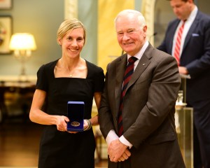 "GG01-2015-0375-012 November 16, 2015 Rideau Hall, Ottawa, Canada His Excellency the Right Honourable David Johnston, Governor General of Canada, presented the Governor General's Academic All-Canadian Commendation for the 2014-2015 season to seven recipients during a ceremony at Rideau Hall on Monday, November 16, 2015. Ontario University Athletics (OUA) Sasha Gollish - University of Toronto - Track & Field – PHD (Civil Engineering The Governor General's Academic All-Canadian Commendation recognizes student-athletes who have maintained an average of 80 per cent or higher over the academic year while playing on one or more of their university's varsity teams. These ""Top Eight Academic All-Canadians"" are selected by Canadian Interuniversity Sport (CIS) and its four Regional Associations. Credit: Sgt Ronald Duchesne, Rideau Hall, OSGG"